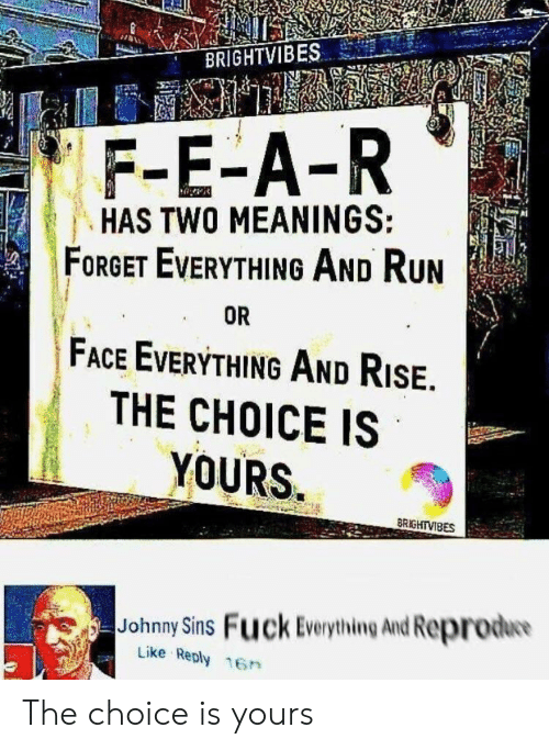 Run, Fuck, and Johnny Sins: BRIGHTVIBES  F-E-A-R  HAS TWO MEANINGS:  FORGET EVERYTHING AND RUN  FACE EVERYTHING AND RISE.  THE CHOICE IS  YOURS  OR  BRIGHTVIBES  Johnny Sins Fuck Everything And Reprodw  Like Reply 16n The choice is yours