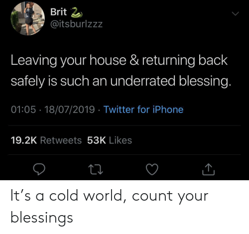 Iphone, Twitter, and House: Brit 2  @itsburlzzz  Leaving your house & returning back  safely is such an underrated blessing.  01:05 18/07/2019 Twitter for iPhone  19.2K Retweets 53K Likes It's a cold world, count your blessings