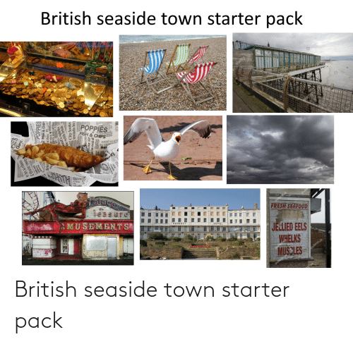 Poppies: British seaside town starter pack  alay  alamy  alamy  Cattig Truck  alamy  alamy  PRA  POPPIES  FISH &CHIPS  put in place  oents he  Sup  en  ralace  leasure  AMUSEMENTS  HERBTES CABS  shutte  REGENCY  FRESH SEAFOOD  НOTEL  JELIED EELS  WHELKS  MUS LES  stoc  shutterstock  shutterstoc  einaclass  f their own  equop  orserace  SurOPPIES  FISH & CHIPS  a class m  a class M62 co  frie  and's spiritss  tie with Irish  City looks  trends inj  ld be real af  TA British seaside town starter pack