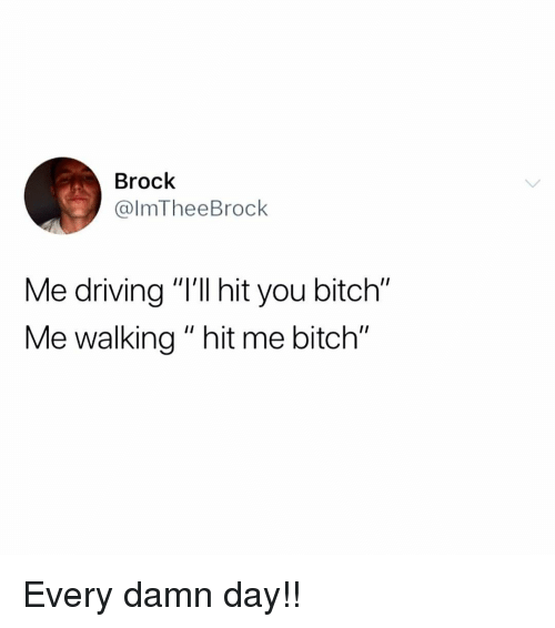 """Bitch, Driving, and Memes: Brock  @lmTheeBrock  Me driving """"'ll hit you bitch""""  Me walking """" hit me bitch"""" Every damn day!!"""