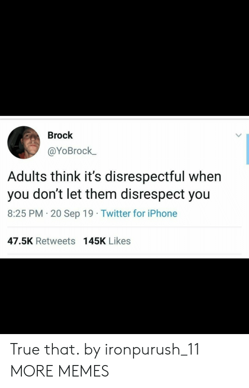 Dank, Iphone, and Memes: Brock  @YoBrock  Adults think it's disrespectful when  don't let them disrespect you  you  8:25 PM 20 Sep 19 Twitter for iPhone  .  47.5K Retweets 145K Likes True that. by ironpurush_11 MORE MEMES
