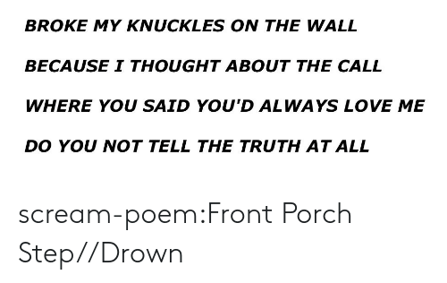 knuckles: BROKE MY KNUCKLES ON THE WALL  BECAUSE I THOUGHT ABOUT THE CALL  WHERE YOU SAID YOU'D ALWAYS LOVE ME  DO YOU NOT TELL THE TRUTH AT ALL scream-poem:Front Porch Step//Drown