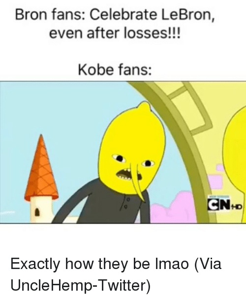 Basketball, Lmao, and Nba: Bron fans: Celebrate LeBron,  even after losses!!!  Kobe fans:  CN+D Exactly how they be lmao (Via UncleHemp-Twitter)