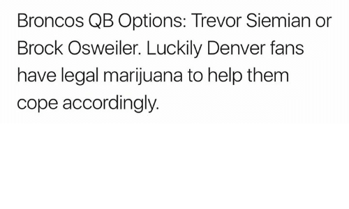 Nfl, Brock, and Broncos: Broncos QB Options: Trevor Siemian or  Brock Osweiler. Luckily Denver fans  have legal marijuana to help them  cope accordingly