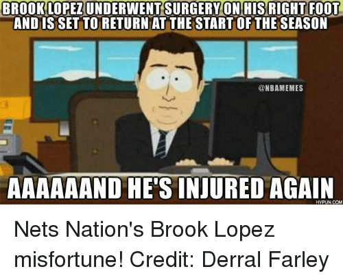 Brook Lopez: BROOK LOPEZIUNDERWENT SURGERY ON HIS RIGHT FOOT  ANDISSETTORETURN AT THE STARTOF THE SEASON  ONBAMEMES  AAAAAAND HE'S INJURED  AGAIN Nets Nation's Brook Lopez misfortune! Credit: Derral Farley