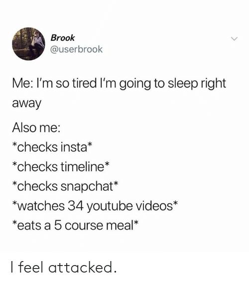 Dank, Snapchat, and Videos: Brook  @userbrook  Me: I'm so tired I'm going to sleep right  away  Also me:  *checks insta*  *checks timeline*  *checks snapchat*  *watches 34 youtube videos*  *eats a 5 course meal* I feel attacked.