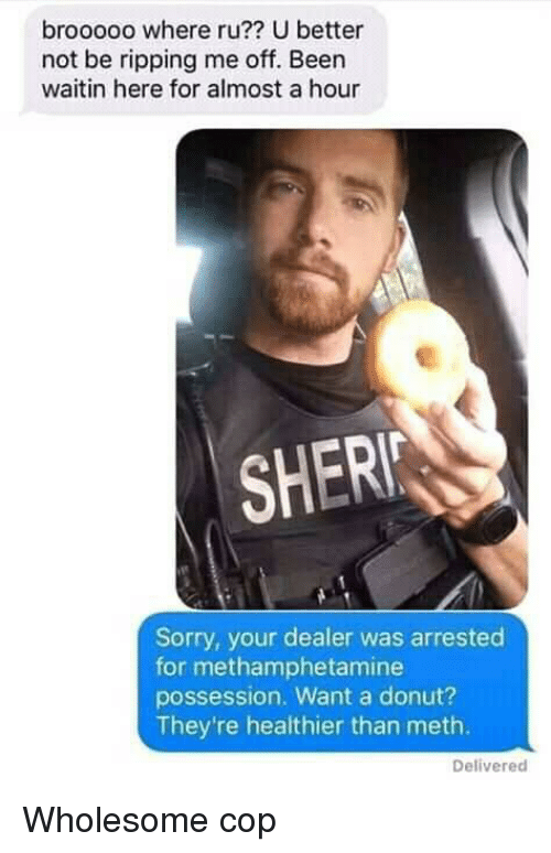 Sorry, Wholesome, and Been: brooooo where ru?? U better  not be ripping me off. Been  waitin here for almost a hour  SHER  Sorry, your dealer was arrested  for methamphetamine  possession. Want a donut?  They're healthier than meth.  Delivered Wholesome cop
