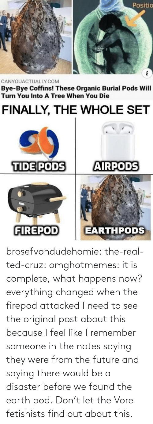 Because I: brosefvondudehomie: the-real-ted-cruz:  omghotmemes: it is complete, what happens now? everything changed when the firepod attacked    I need to see the original post about this because I feel like I remember someone in the notes saying they were from the future and saying there would be a disaster before we found the earth pod.    Don't let the Vore fetishists find out about this.