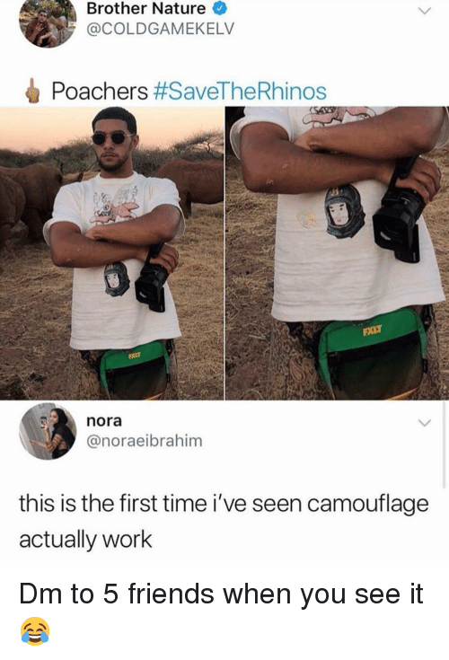 Friends, Memes, and When You See It: Brother Nature  @COLDGAMEKELV  Poachers #SaveTheRhinos  nora  @noraeibrahim  this is the first time i've seen camouflage  actually work Dm to 5 friends when you see it 😂