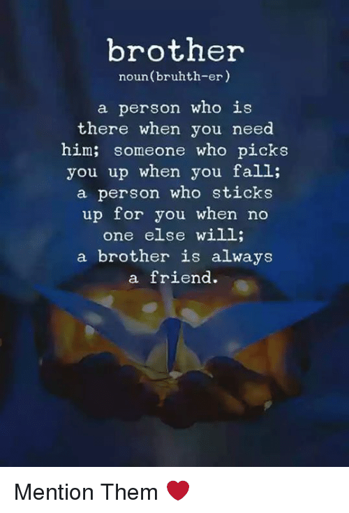 Fall, Sticks, and Brother: brother  noun(bruhth-er)  a person who is  there when you need  him; someone who picks  you up when you fall;  a person who sticks  up for you when no  one else will;  a brother is always  a friend. Mention Them ❤