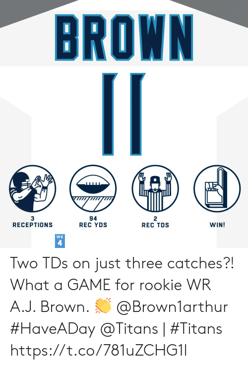Memes, Game, and A Game: BROWN  94  REC YDS  3  RECEPTIONS  2  REC TDS  WIN!  WK  4 Two TDs on just three catches?! What a GAME for rookie WR A.J. Brown. ? @Brown1arthur #HaveADay  @Titans | #Titans https://t.co/781uZCHG1l
