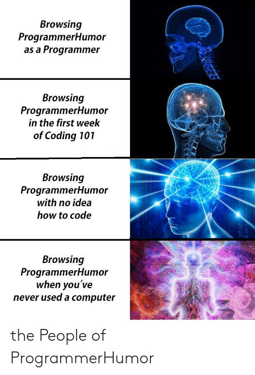 coding: Browsing  ProgrammerHumor  as a Programmer  Browsing  ProgrammerHumor  in the first week  of Coding 101  Browsing  ProgrammerHum or  with no idea  how to code  Browsing  ProgrammerHumor  when you've  never used a computer the People of ProgrammerHumor