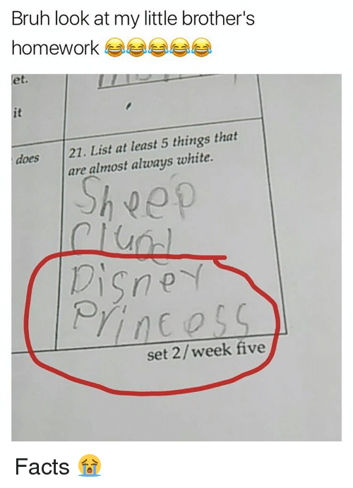 Disns: Bruh look at my little brother's  homework  does 21. List at least 5 things that  are almost always white  Disn  set week five Facts 😭