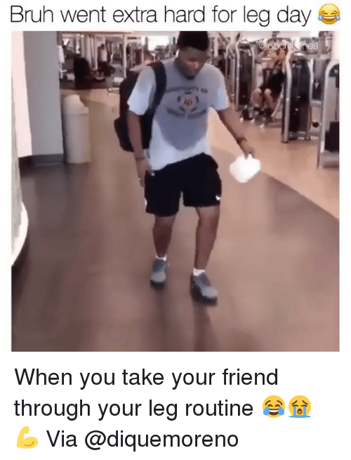 Bruh, Gym, and Leg Day: Bruh went extra hard for leg day When you take your friend through your leg routine 😂😭💪 Via @diquemoreno