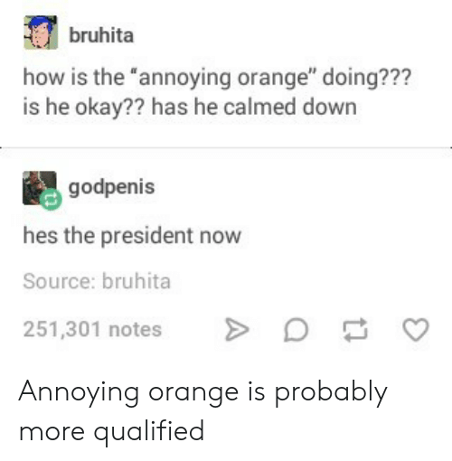 "Okay, Orange, and Annoying: bruhita  how is the annoying orange"" doing???  is he okay?? has he calmed down  godpenis  hes the president now  Source: bruhita  251,301 notes Annoying orange is probably more qualified"