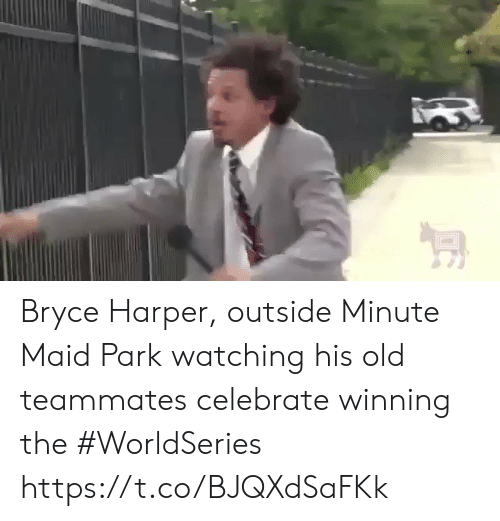 Minute Maid, Sports, and Bryce Harper: Bryce Harper, outside Minute Maid Park watching his old teammates celebrate winning the #WorldSeries https://t.co/BJQXdSaFKk