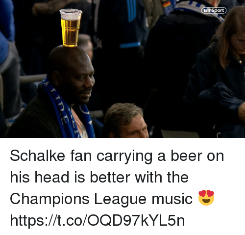 Beer, Head, and Memes: BT Sport Schalke fan carrying a beer on his head is better with the Champions League music 😍  https://t.co/OQD97kYL5n