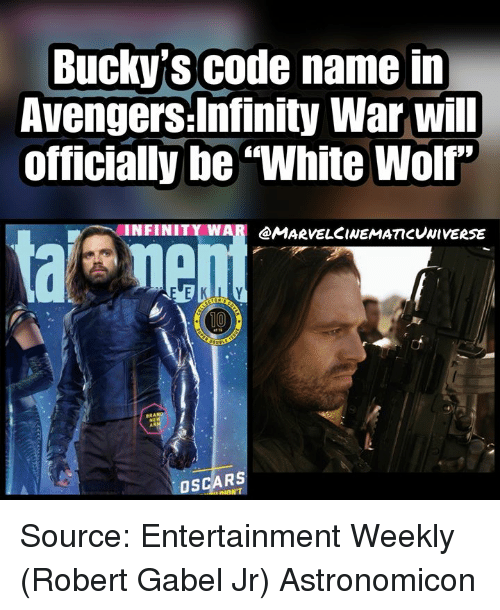 "Memes, Oscars, and Avengers: Bucky's code name in  Avengers:Infinity War will  officially be""White Wolf""  INFINITY WAR  @MARVELCINEMATTCVNivERSE  10  OSCARS Source: Entertainment Weekly (Robert Gabel Jr) Astronomicon"