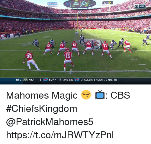 Memes, Nfl, and Cbs: BUD  LIGHT  Sprint  NFL  32  15  NFL Cg)NYJ  13  \ BUF  .  17  2ND 2:30  J. ALLEN: 6 RUSH, 74 YDS, TD Mahomes Magic 😏  📺: CBS #ChiefsKingdom @PatrickMahomes5 https://t.co/mJRWTYzPnl