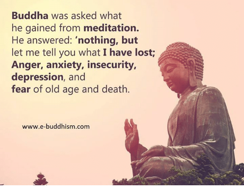 """Meditative: Buddha was asked what  he gained from meditation.  He answered: """"nothing, but  let me tell you what I have lost  Anger, anxiety, insecurity,  depression, and  fear of old age and death.  www.e-buddhism.com"""