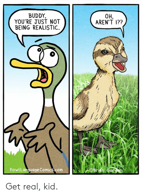 Get Real: BUDDY,  YOU'RE JUST NOT  BEING REALISTIC.  OH,  AREN'T 1??  FowlLanguage Comics.comBran Gor Get real, kid.