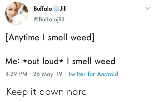 Narc: BuffaloJill  @Buffalojill  [Anytime I smell weed]  e: *out loud* | smell wee  4:29 PM 26 May 19 Twitter for Android Keep it down narc