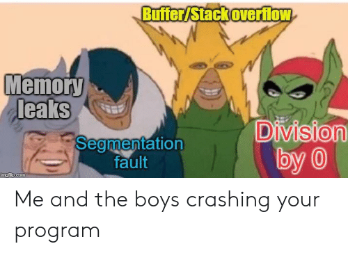 Boys, Leaks, and Com: Buffer/Stack overflow  Memory  leaks  Division  by 0  Segmentation  fault  imgfip.com Me and the boys crashing your program