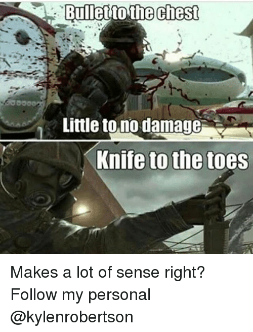 Memes, 🤖, and Personal: Bullet to the chest  Little to.no damage  Knife to the toes Makes a lot of sense right? Follow my personal @kylenrobertson