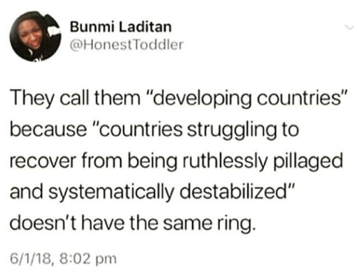 "Ring, Them, and They: Bunmi Laditan  @HonestToddler  They call them ""developing countries""  because ""countries struggling to  recover from being ruthlessly pillaged  and systematically destabilized""  doesn't have the same ring.  6/1/18, 8:02 pm"