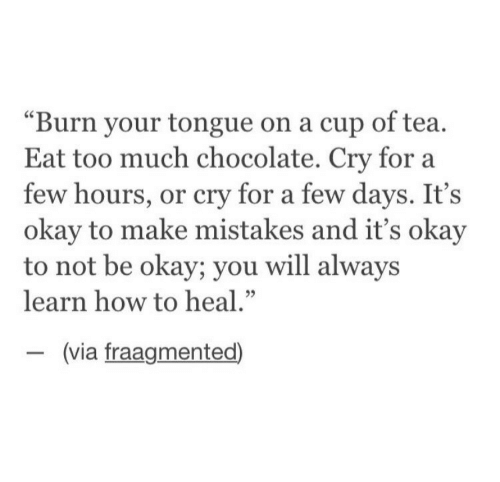 """Too Much, Chocolate, and How To: """"Burn your tongue on a cup of tea.  Eat too much chocolate. Cry for a  few hours, or cry for a few days. It's  okay to make mistakes and it's okay  to not be okay; you will alway:s  learn how to heal.""""  (via fraagmented)"""