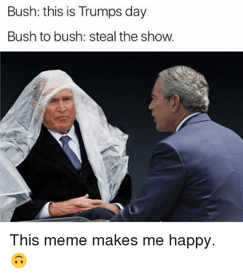 Trump Day: Bush: this is Trumps day  Bush to bush: steal the show. This meme makes me happy. 🙃
