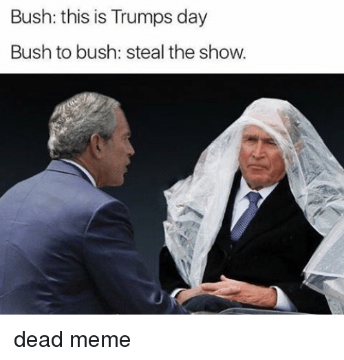 Trump Day: Bush: this is Trumps day  Bush to bush: steal the show. dead meme