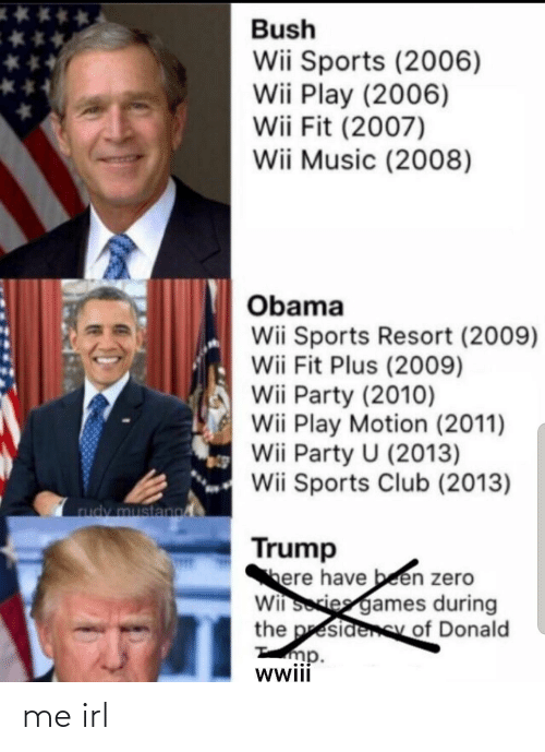donald: Bush  Wii Sports (2006)  Wii Play (2006)  Wii Fit (2007)  Wii Music (2008)  Obama  Wii Sports Resort (2009)  Wii Fit Plus (2009)  Wii Party (2010)  Wii Play Motion (2011)  Wii Party U (2013)  Wii Sports Club (2013)  rudy mustano  Trump  here have been zero  Wii sories games during  the presidenSy of Donald  mp.  wwii me irl