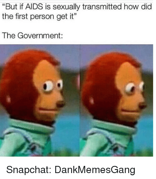 "Memes, Snapchat, and Government: ""But if AIDS is sexually transmitted how dic  the first person get it""  The Government: Snapchat: DankMemesGang"