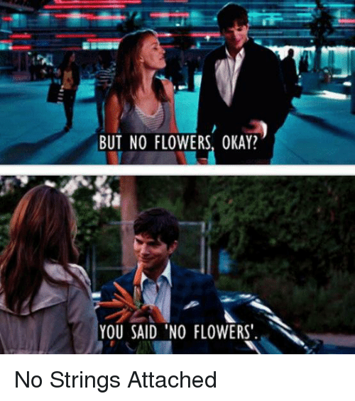 Memes, 🤖, and No Strings Attached: BUT NO FLOWERS, OKAY?  YOU SAID NO FLOWERS. No Strings Attached