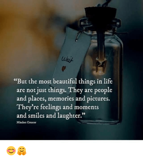 "Beautiful, Life, and Memes: ""But the most beautiful things in life  are not just things. They are people  and places, memories and pictures.  They're feelings and moments  and smiles and laughter.""  35  Mindset Creator 😊🤗"