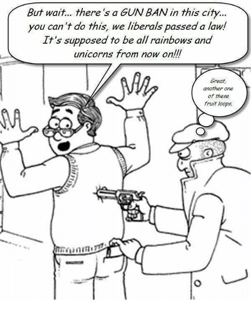 Another One, Another, and Gun: But wait... there's a GUN BAN in this city...  you can 't do this, we liberals passed a law!  It's supposed to be all rainbows and  unicorns from now on!!  Great,  another one  of these  fruit loops.