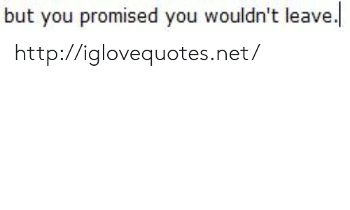 Http, Net, and You: but you promised you wouldn't leave. http://iglovequotes.net/