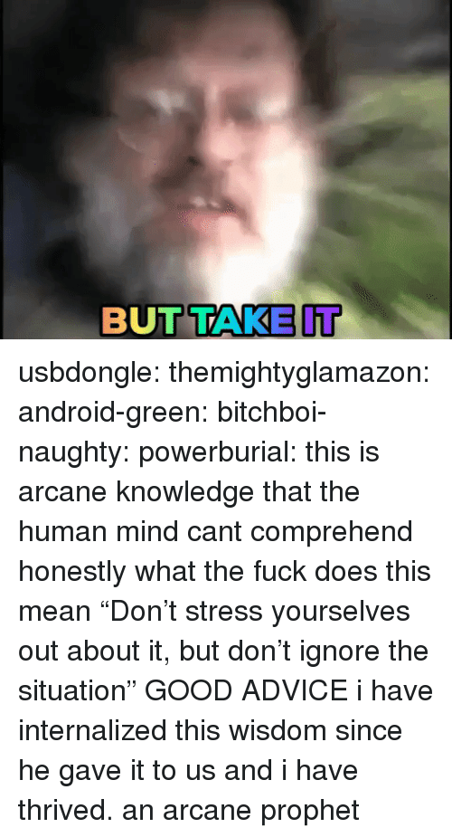 "Advice, Android, and Tumblr: BUTTAKE IT usbdongle: themightyglamazon:  android-green:  bitchboi-naughty:   powerburial: this is arcane knowledge that the human mind cant comprehend  honestly what the fuck does this mean   ""Don't stress yourselves out about it, but don't ignore the situation""   GOOD ADVICE   i have internalized this wisdom since he gave it to us and i have thrived. an arcane prophet"