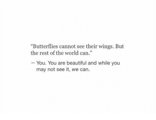 """Beautiful, Wings, and World: """"Butterflies cannot see their wings. But  the rest of the world can.""""  - You. You are beautiful and while you  may not see it, we can."""