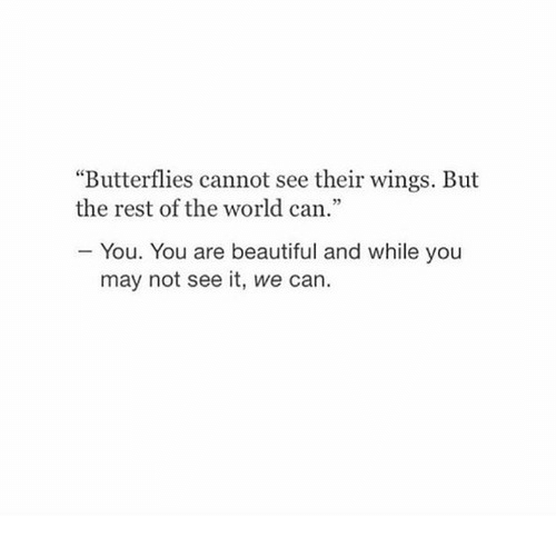 """Beautiful, Wings, and World: """"Butterflies cannot see their wings. But  the rest of the world can.""""  You. You are beautiful and while you  may not see it, we can."""