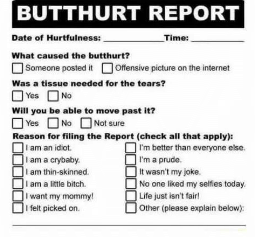 Bitch, Butthurt, and Internet: BUTTHURT REPORT  Time:  Date of Hurtfulness:  What caused the butthurt?  □ Someone posted it □ Offensive picture on the internet  Was a tissue needed for the tears?  □Yes □ No  Will you be able to move past it?  □ Not sure  Yes □  Reason for filing the Report (check all that apply):  IN。  I am an idiot  I am a crybaby.  I am thin-skinned.  1 m better than everyone else.  I'm a prude  It wasn't my joke.  No one liked my selfies today  I am a little bitch.  I want my mommy  Life just isn't fair!  □ I felt picked on.  □ Other (please explain below):