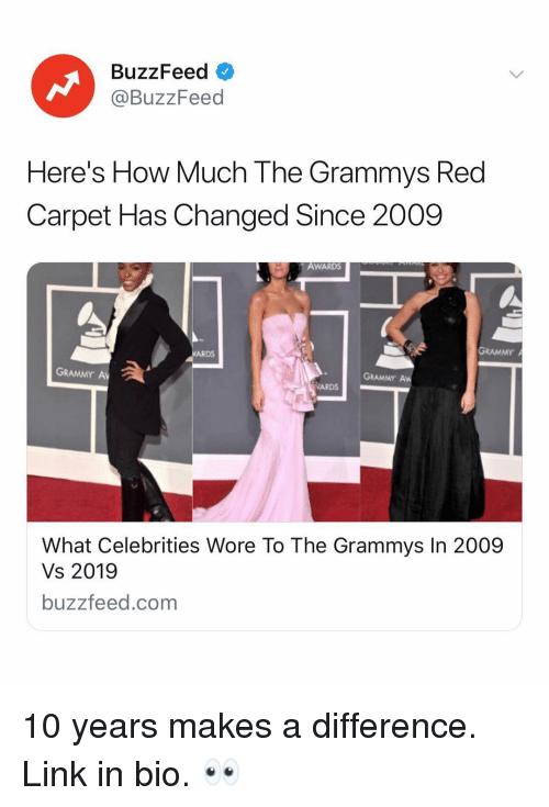 Red Carpet: BuzzFeed  @BuzzFeed  Here's How Much The Grammys Red  Carpet Has Changed Since 2009  AWARDS  GRAMMY  ARDS  GRAMMY A  GRAMMY Aw  ARDS  What Celebrities Wore To The Grammys In 2009  Vs 2019  buzzfeed.com 10 years makes a difference. Link in bio. 👀