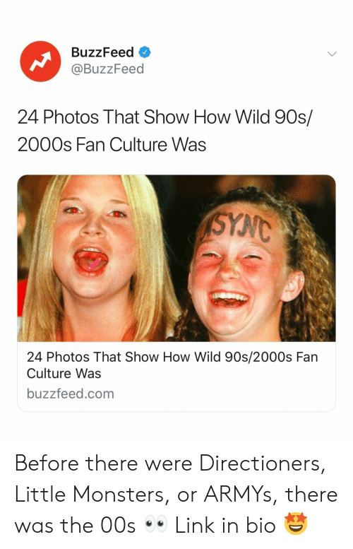 Buzzfeed, Link, and Wild: BuzzFeed o  @BuzzFeed  24 Photos That Show How Wild 90s/  2000s Fan Culture Was  24 Photos That Show How Wild 90s/2000s Fan  Culture Was  buzzfeed.com Before there were Directioners, Little Monsters, or ARMYs, there was the 00s 👀 Link in bio 🤩