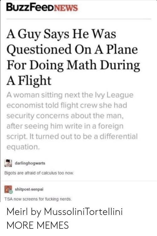 Senpai: BUZZFeeDNEWS  A Guy Savs He Was  Questioned On A Plane  For Doing Math During  Flight  A woman sitting next the Ivy League  economist told flight crew she had  security concerns about the man,  after seeing him write in a foreign  script. It turned out to be a differential  equation.  A  darlinghogwarts  Bigots are afraid of calculus too now  shitpost-senpai  TSA now screens for fucking nerds. Meirl by MussoIiniTorteIIini MORE MEMES
