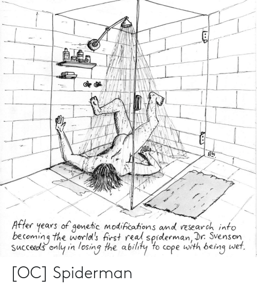 Becoming: BW.  years of genetic modifications and research into  becoming the world's first real sprderman, Dr. Svenson,  succeeds only in losing the ability to cope with being wet,  After [OC] Spiderman