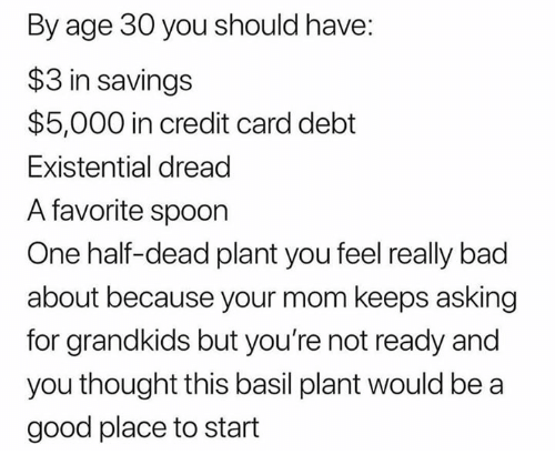 Bad, Good, and Humans of Tumblr: By age 30 you should have:  $3 in savings  $5,000 in credit card debt  Existential dread  A favorite spoon  One half-dead plant you feel really bad  about because your mom keeps asking  for grandkids but you're not ready and  you thought this basil plant would be a  good place to start
