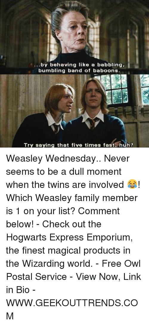 Bumbling: ...by behaving like a babbling,  bumbling band of baboons.  Try saying that five times fast huh? Weasley Wednesday.. Never seems to be a dull moment when the twins are involved 😂! Which Weasley family member is 1 on your list? Comment below! - Check out the Hogwarts Express Emporium, the finest magical products in the Wizarding world. - Free Owl Postal Service - View Now, Link in Bio - WWW.GEEKOUTTRENDS.COM