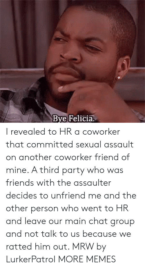 bye felicia: Bye Felicia. I revealed to HR a coworker that committed sexual assault on another coworker friend of mine. A third party who was friends with the assaulter decides to unfriend me and the other person who went to HR and leave our main chat group and not talk to us because we ratted him out. MRW by LurkerPatrol MORE MEMES