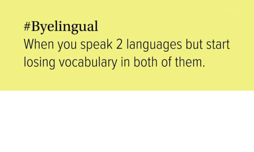 both of them:  #Byelingual  When you speak 2 languages but start  losing vocabulary in both of them.